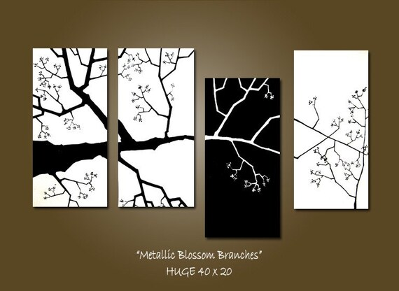 CUSTOM Metallic Blossom Branches - 40 x 20, Acrylic Art PAINTING, gallery wrapped ready to hang, ORIGINAL, Earthy Nature Tree Painting