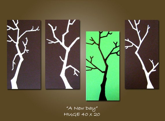 CUSTOM Original Abstract Modern Fine Art Acrylic Earthy Nature Tree Branches Contemporary Painting by Shanna - HUGE 40 x 20 - A New Day