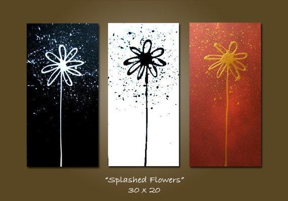ORIGINAL Large Abstract Modern Fine Art Acrylic Earthy Nature Metallic Contemporary Painting by Shanna - 30 x 20 - Splashed Flowers