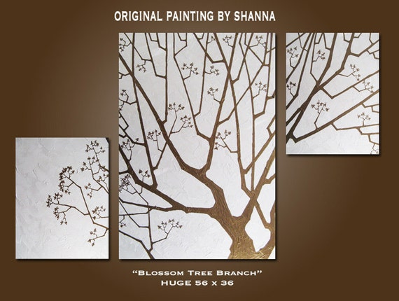 Original PAINTING Abstract Modern Fine Art Textured Earthy Tree Nature Contemporary by Shanna - HUGE 56 x 36 - Blossom Tree Branch