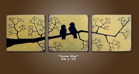 SALE - Love Me - 36 x 12, Acrylic painting canvas, gallery wrapped and ready to hang, ORIGINAL and HUGE