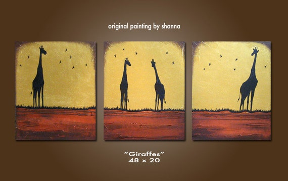 Giraffes - 48 x 20, Heavy Textured Acrylic Art PAINTING on canvas, Contemporary Earthy Animal Art