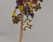 SALE Purple and Yellow Bohemian Cluster Necklace