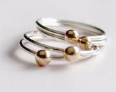 Sterling Silver and Gold Rings Set of Four Stacking Rings Mixed Metal Rings