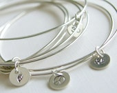 Bangles Sterling Silver Bracelets with Stamped Charm Set of Three Stacking Bangles Personalized Jewellery