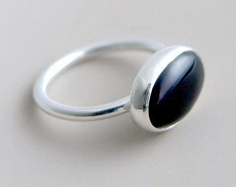 Black Onyx Ring Sterling Silver Bezel Set Oval Stone Black Ring