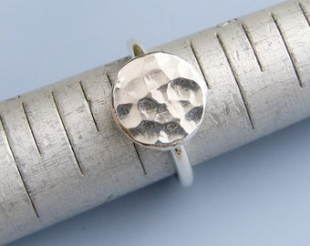 Hammered Circle Ring Sterling Silver Ring