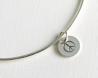 One Sterling Silver Bangle with Peace Sign Charm