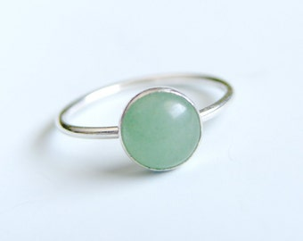 Green Aventurine Ring Sterling Silver Stacking Ring