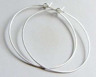 Hammered Flat Hoops Sterling Silver Hoop Earrings 2 inch