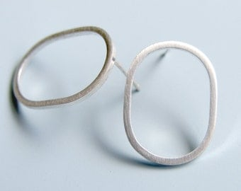 Oval Hoop Earrings Sterling Silver Studs Post Earrings Geometric Jewellery