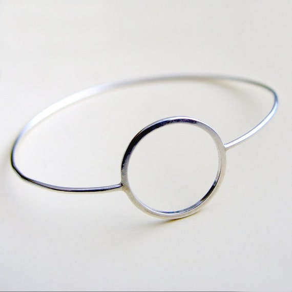 Open Circle Bangle Sterling Silver Bracelet