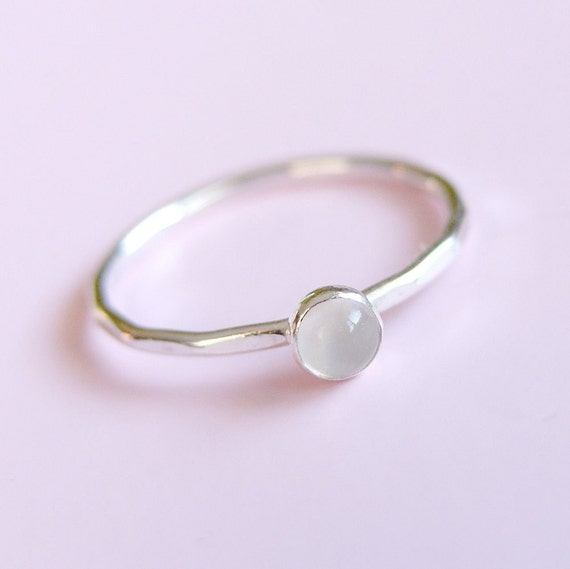 Moonstone Ring Sterling Silver Stacking Ring
