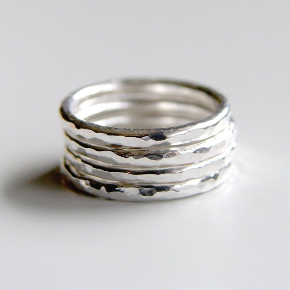 Set of Four Bands Sterling Silver Stacking Rings Hammered Shiny Brushed