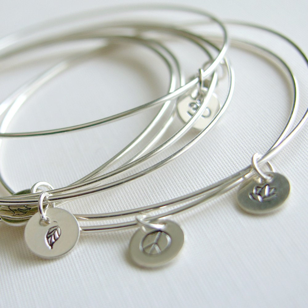 Silver Bracelets With Charms: Bangles Sterling Silver Bracelets With Stamped Charm Set Of