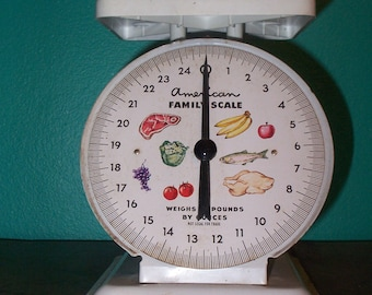 Vintage American Family Kitchen Scale in White