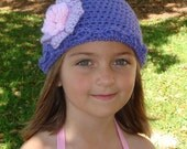 Violet crochet beanie with lavender and pink crochet flower fits size 4-10 years