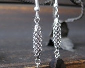 Tiger ebony and silver-colored cage bead earrings