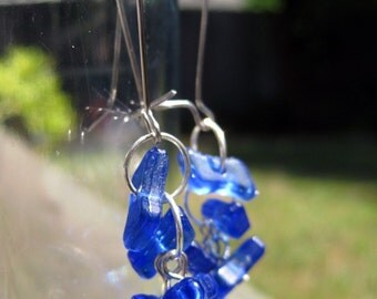 Fluttering blue glass dangle earrings