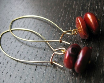 Rich red cultured pearl earrings