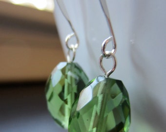 Apple green faceted glass earrings