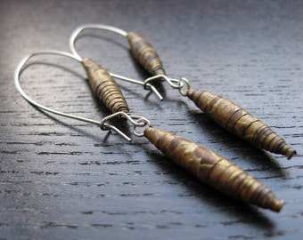 Modern vintage paper bead earrings