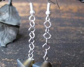 Diamond shaped cola colored glass earrings
