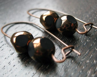 Black and copper glass earrings