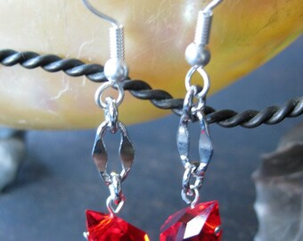 Sparkle ruby-colored glass and chain earrings