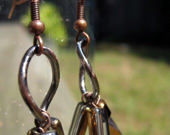 Copper-colored glass earrings