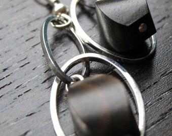Tiger ebony dangle earrings