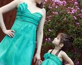 Seafoam Black Chiffon Halter Dress- Wedding -Spring - Easter