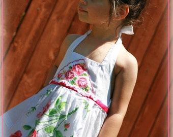 Spring Summer White Sundress with Vintage Handkerchief Apron Custom 12 months-6 years
