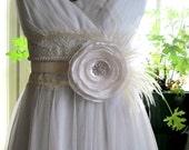 Satin and Organza single flower bridal sash or brooch