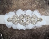 Rhinestone and Petals bridal sash