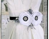 Modern Beauty bridal flower sash or brooch