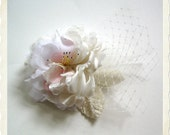 Romantic flower bridal hair comb or clip vintage stye ivory with lace and pink accents