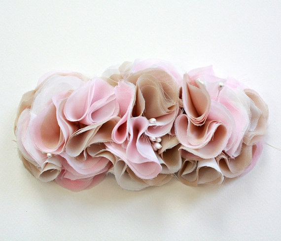 Romantic Couture chiffon flower bridal sash or brooch