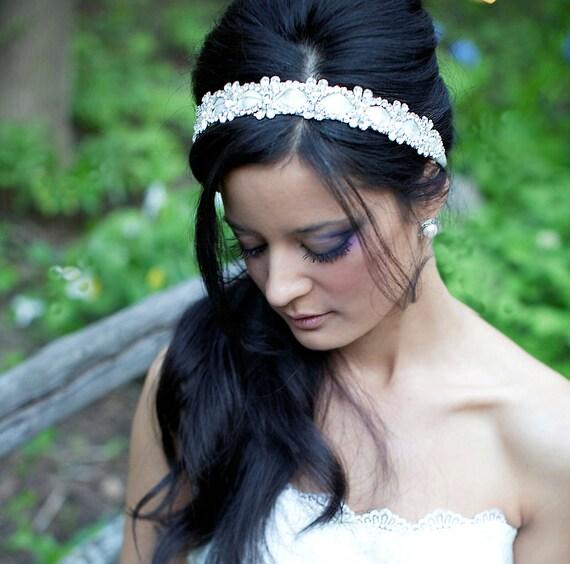 Julietta romantic bridal rhinestone ribbon headband