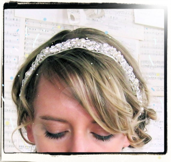 Radiance rhinestone and pearl bridal ribbon headband READY TO SHIP