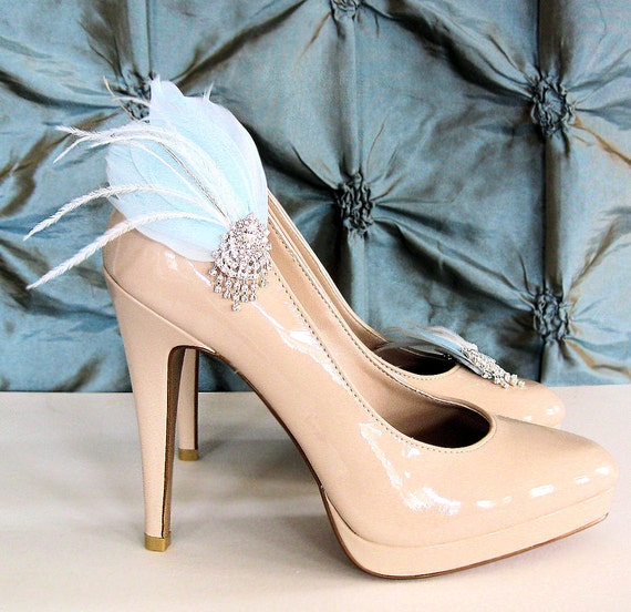 Feather and Rhinestone bridal shoe clips in light blue
