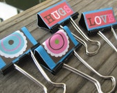 Funky Love Binder Clips Set of 4 Medium OOAK By MissChuga