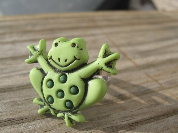 Frog Adjustable Ring OOAK By MissChuga