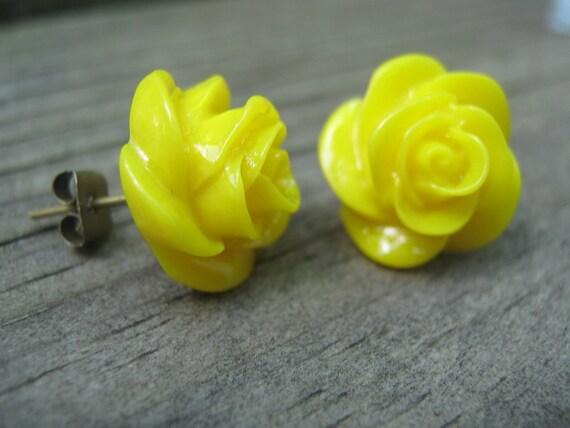 Neon Yellow Rose Stud Post Earrings Nickel Free By MissChuga