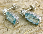Aquamarine Dangle Earrings with Diamonds and Custom Made Baskets in 14K White Gold with Fine Scroll Work