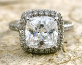 Custom Made Micro Pave Diamond Engagement Ring in Platinum with Your Choice of Center Stone Size 6