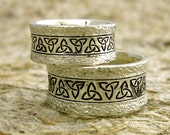 Custom Hand Made Wide Celtic Knot Wedding Rings in Sterling Silver with Hammered Oxidized Finish