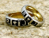 Romeo and Juliet Wedding Ring Set in Two Tone 14K White and 14K Yellow Gold with Hand Engraving Sizes 7 & 9