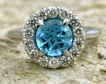 Teal Blue Topaz and Diamond Engagement Ring in 14K White Gold Size 7