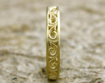 Scroll Wedding Ring in 14K Yellow Gold with Cool Matte Finish Size 6